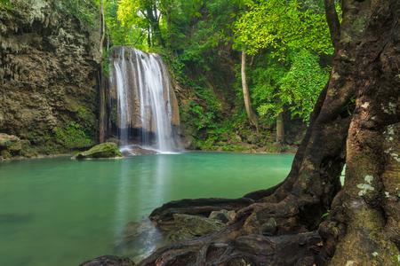 forest river: Deep forest waterfall, Erawan waterfall in Kanchanaburi, Thailand