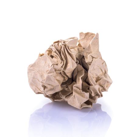 ball lump: Crumpled paper on white background Stock Photo