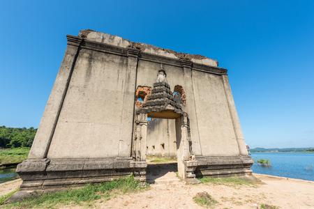 vestige: Old temple at Sangkhlaburi district, Kanchanaburi province, Thailand. Stock Photo