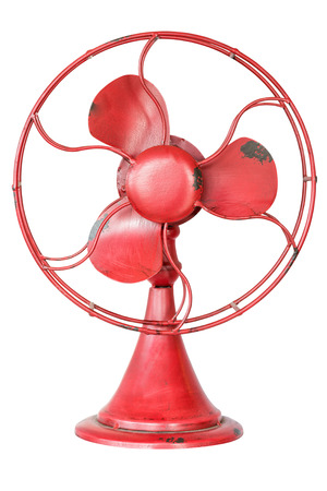 Red metal fan isolated on white background.