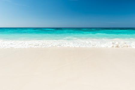 Beautiful beach and tropical sea, Wave of the sea on the sand beach