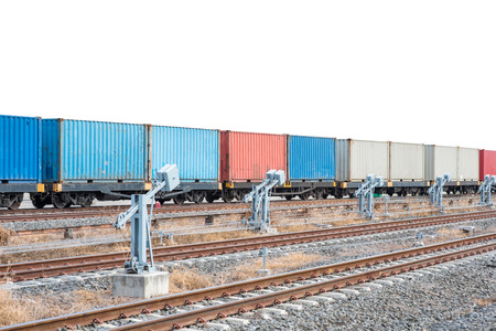 boxcar train: container trains isolated on white background Stock Photo