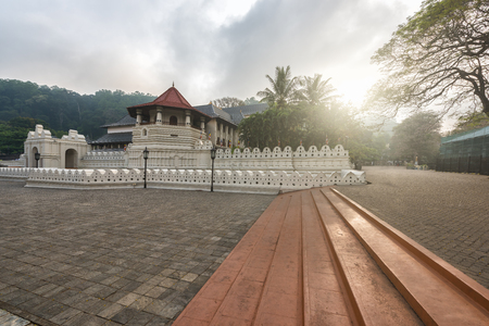 kandy: Temple of the Sacred Tooth Relic with lighting morning at Kandy, Sri Lanka