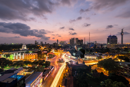 Colombo city sunset view, Top view of Colombo city at sunset in Sri lanka Stock Photo