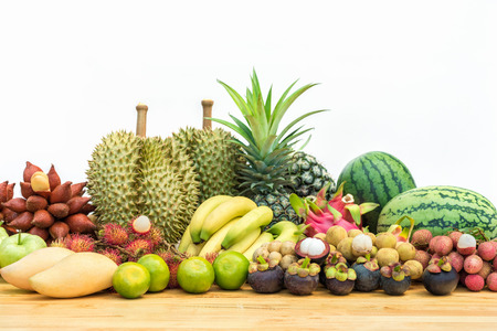 Fresh fruits, Mixed fruits background, Thai fruits on white background Stockfoto