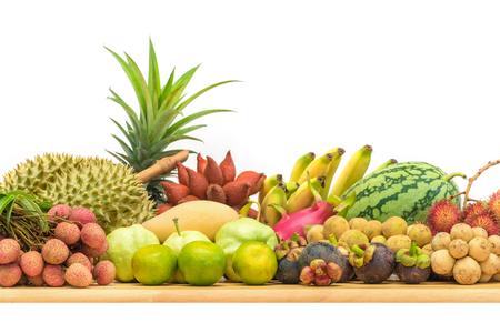 Fresh Thai fruits on white background Standard-Bild