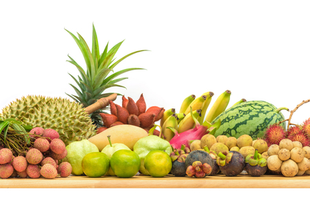Fresh Thai fruits on white background Stockfoto