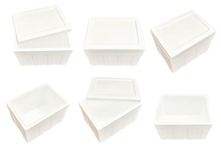 Set of styrofoam storage box isolated on white background.