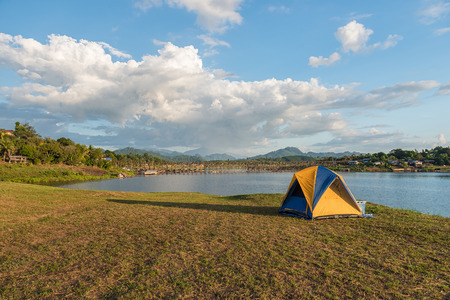 sangkhla buri: Camping and tent near river at Sangkhla buri in Thailand. Stock Photo