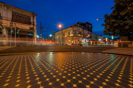 PHUKET, THAILAND - JANUARY 09, 2017: Yaowarat Road. Phuket old town with old buildings in Sino Portuguese style is a very famous tourist destination of Phuket.