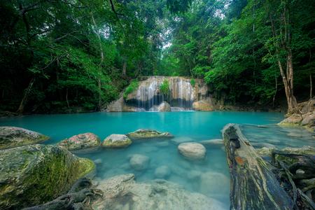 Waterfall in forest at Erawan waterfall National Park, Kanchanaburi, Thailand Stock Photo