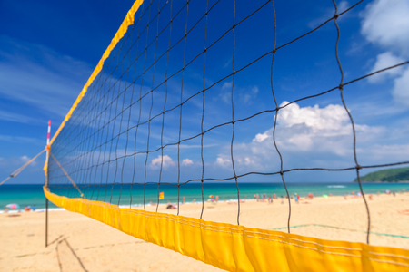Volleyball net on the tropical beach Stock Photo