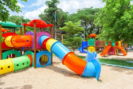 Modern children playground in park Stock Photo