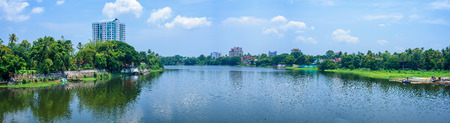 Panoramic river view and cityscapes of Kerala, India. Stock Photo