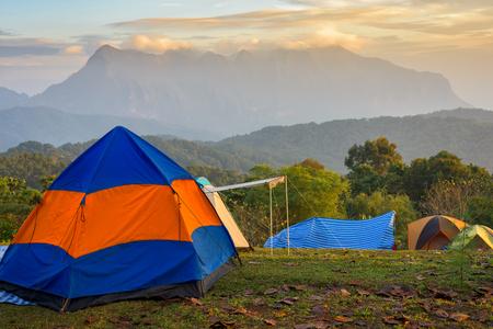 Camping y carpa en hermosa vista al bosque.