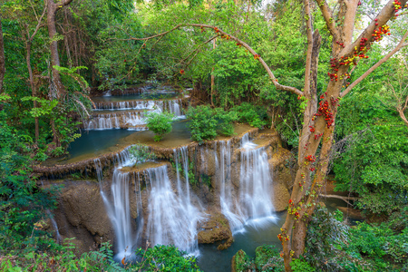 Beautiful deep forest waterfall in Thailand Stock Photo