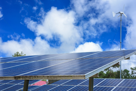 Blue solar panels Imagens