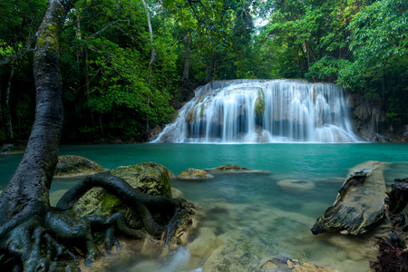 Beautiful waterfall in green forest in jungle , Thailand