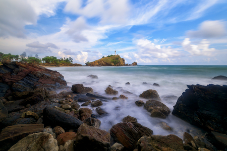 Beautiful seascape and lighthouse at Mu Ko Lanta National Park in the southern part of Krabi Province, Thailand.