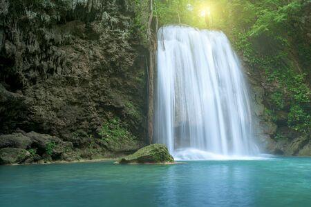 Waterfall in forest at Erawan waterfall National Park, Kanchanaburi, Thailand Stock fotó