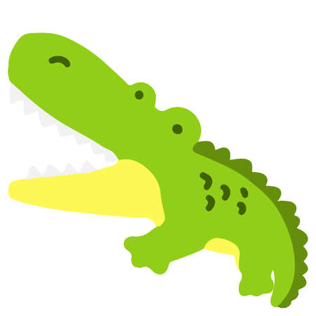 Simple and flat colored green Crocodile