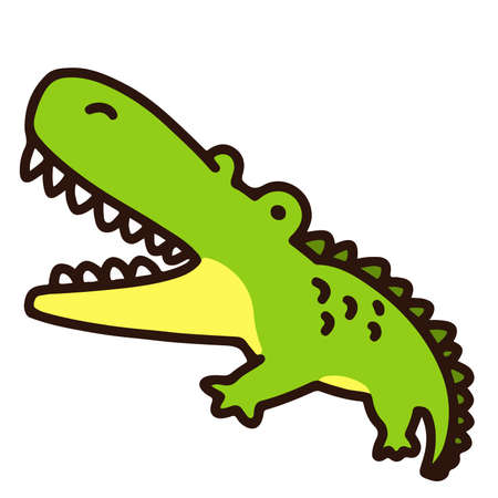 Outlined simple and cute green Crocodile