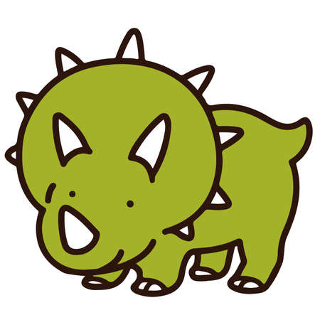 Outlined simple and cute Triceratops