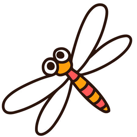 Outlined simple and cute Dragonfly 向量圖像