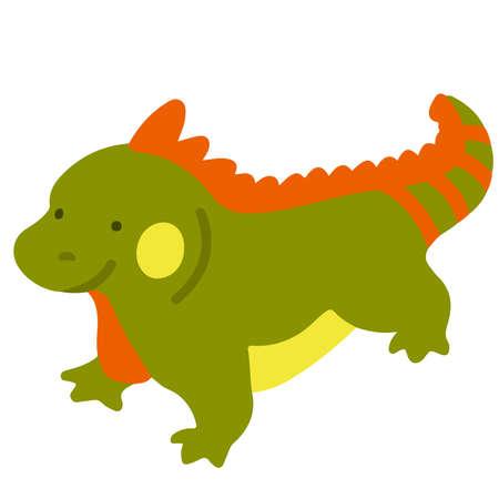 Simple flat colored Green iguana