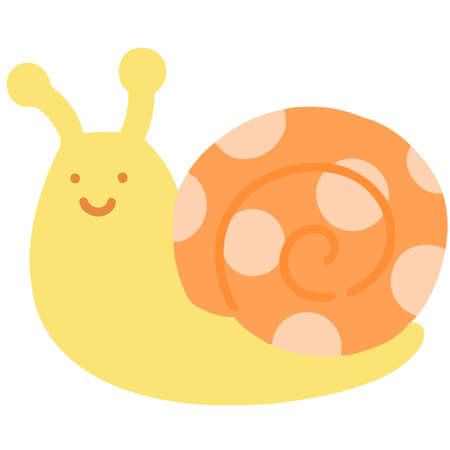 Simple flat colored Orange snail Illustration