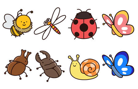 Cute and simple insects set outlined Illustration
