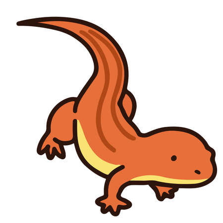 Outlined simple and cute Red lizard