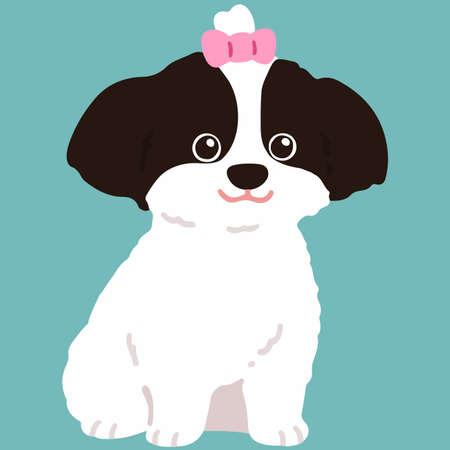 Flat colored Shih Tzu sitting with pink ribbon Illustration