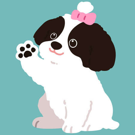Flat colored Shih Tzu dog waving hand sitting Illustration
