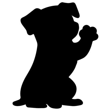 Jack Russell Terrier sitting front shake silhouette Illustration