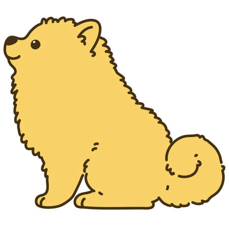 Outlined light brown Pomeranian sitting side view 일러스트