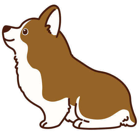 Outlined brown Corgi sitting in side view 矢量图像