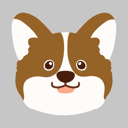 Flat colored cute brown Corgi front face