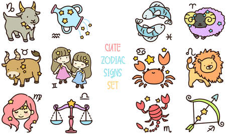 Set of cute and colorful zodiac signs