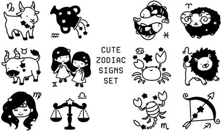 Black and white cute horoscope signs