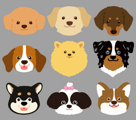 Set of flat colored cute and simple dog heads