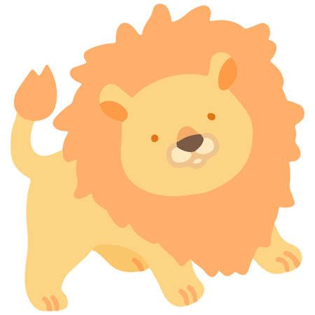 Pastel colored simple and cute orange lion