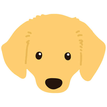 Flat colored golden Miniature Dachshund front head 向量圖像