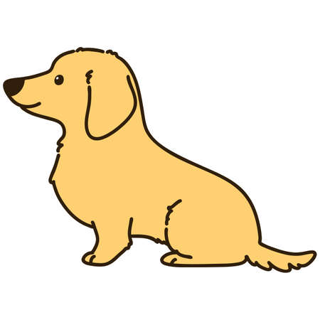 Outlined cream miniature dachshund sitting side view 向量圖像