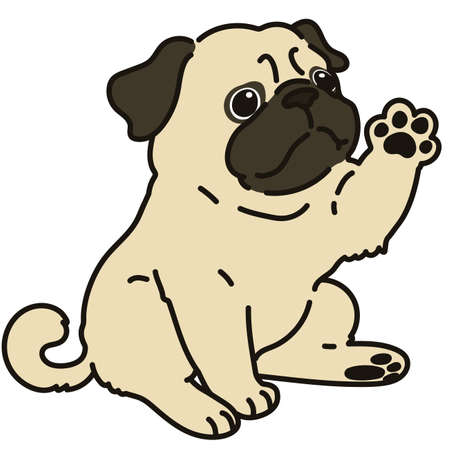 Outlined simple and cute pug sitting and waving hand Stock Illustratie