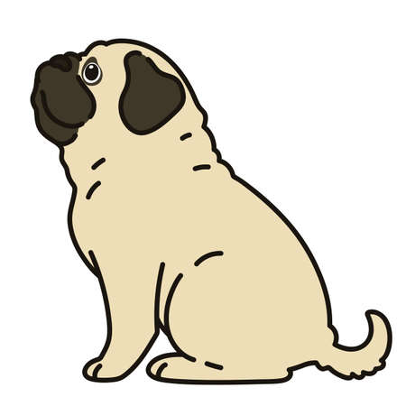Outlined simple and cute pug sitting in side view Stock Illustratie