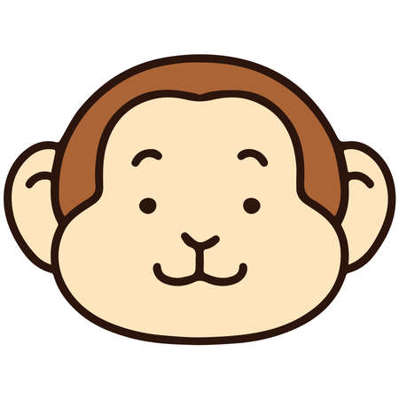 Outlined simple and cute monkey