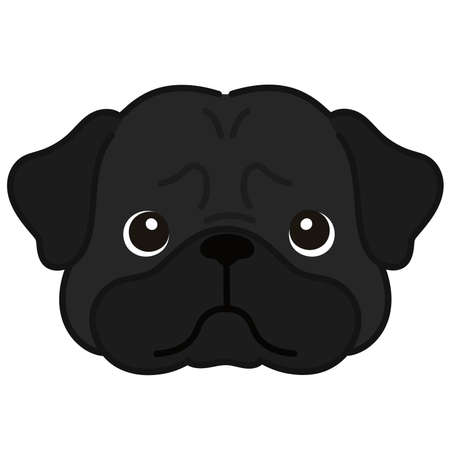 Outlined simple and cute black pug face