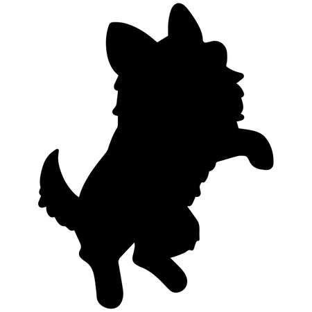Chihuahua puppy jumping front silhouette Illustration