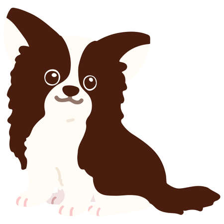 Flat colored dark brown chihuahua sitting  イラスト・ベクター素材